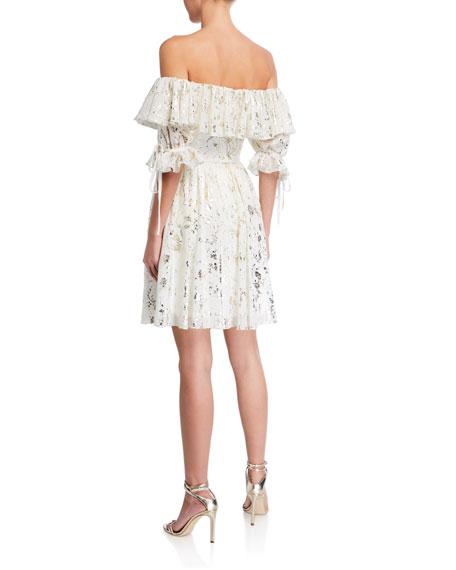 Love  Theia Foil Printed Chiffon Off-the-Shoulder Ruffle Dress