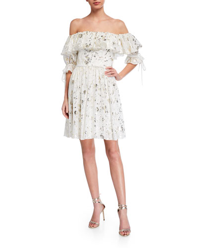 Foil Printed Chiffon Off-the-Shoulder Ruffle Dress