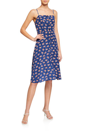 HVN Atlanta Silk Button-Front Strappy Dress