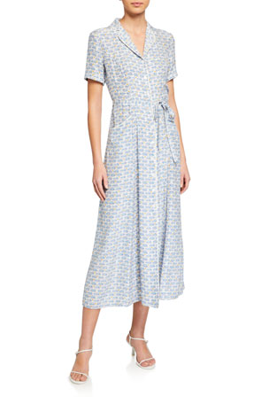 HVN Maria Long Button-Down Pajama Dress with Belt