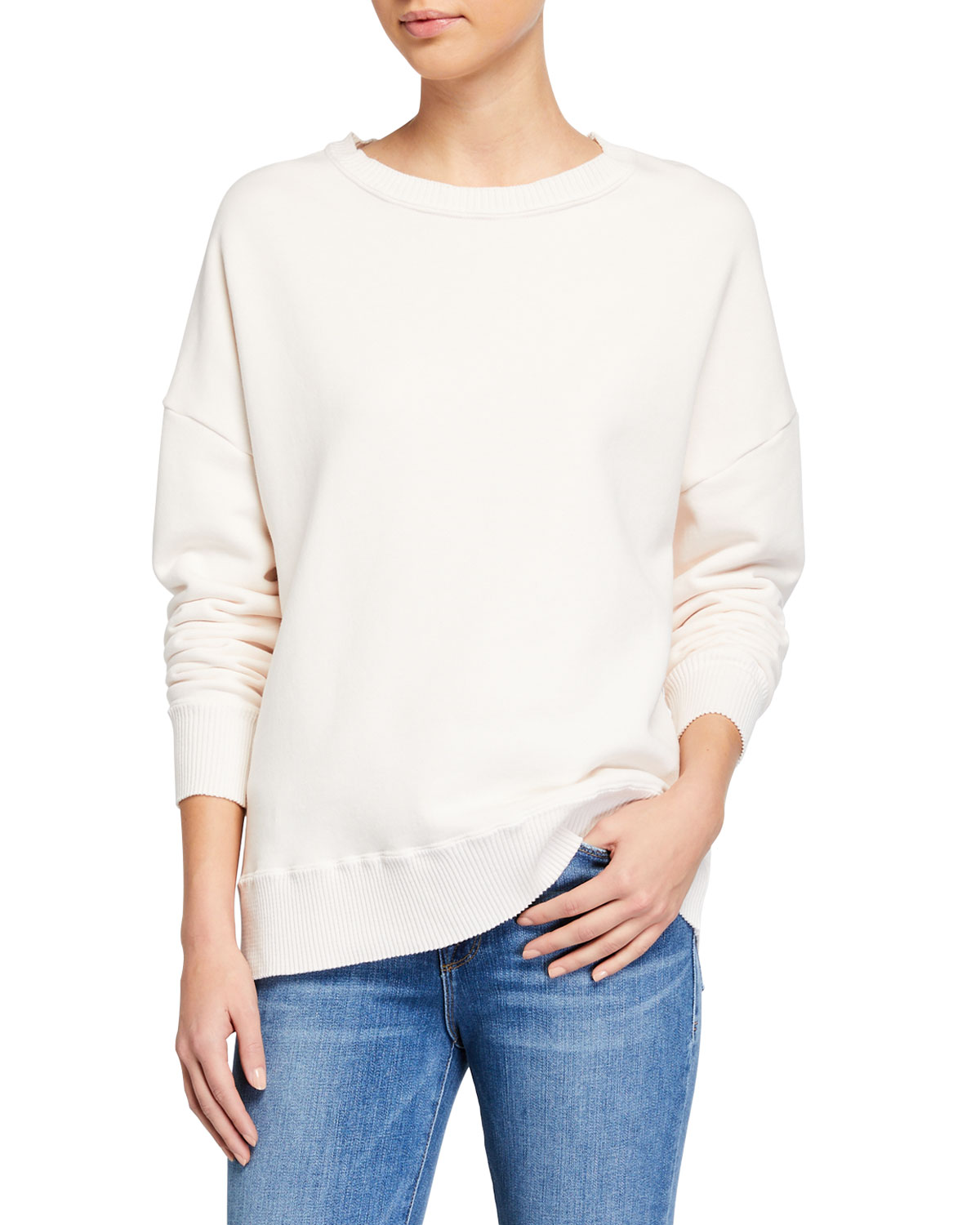 Frank & Eileen Tee Lab Ribbed Knit Cotton Fleece Sweatshirt