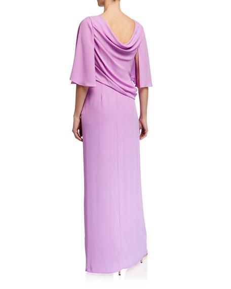 Halston Drape Back 1/2-Sleeve Silky Georgette Gown