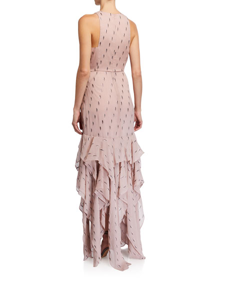 Image 2 of 2: Halston Metallic Clip Jacquard Ruffle Skirt Gown
