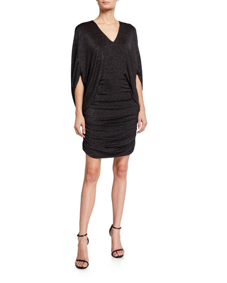 Image 1 of 2: Halston Metallic Knit V-Neck 1/2-Sleeve Ruched Dress