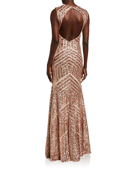 Image 2 of 2: Jovani Graphic Beaded Open-Back Column Gown