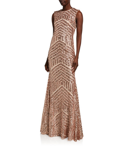 Image 1 of 2: Jovani Graphic Beaded Open-Back Column Gown