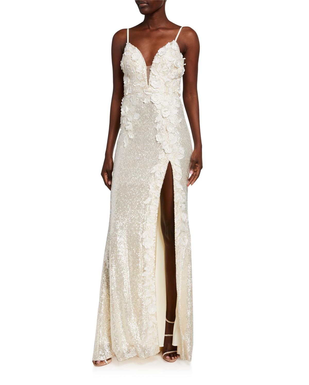 Jovani Sequin Floral Applique Column Gown