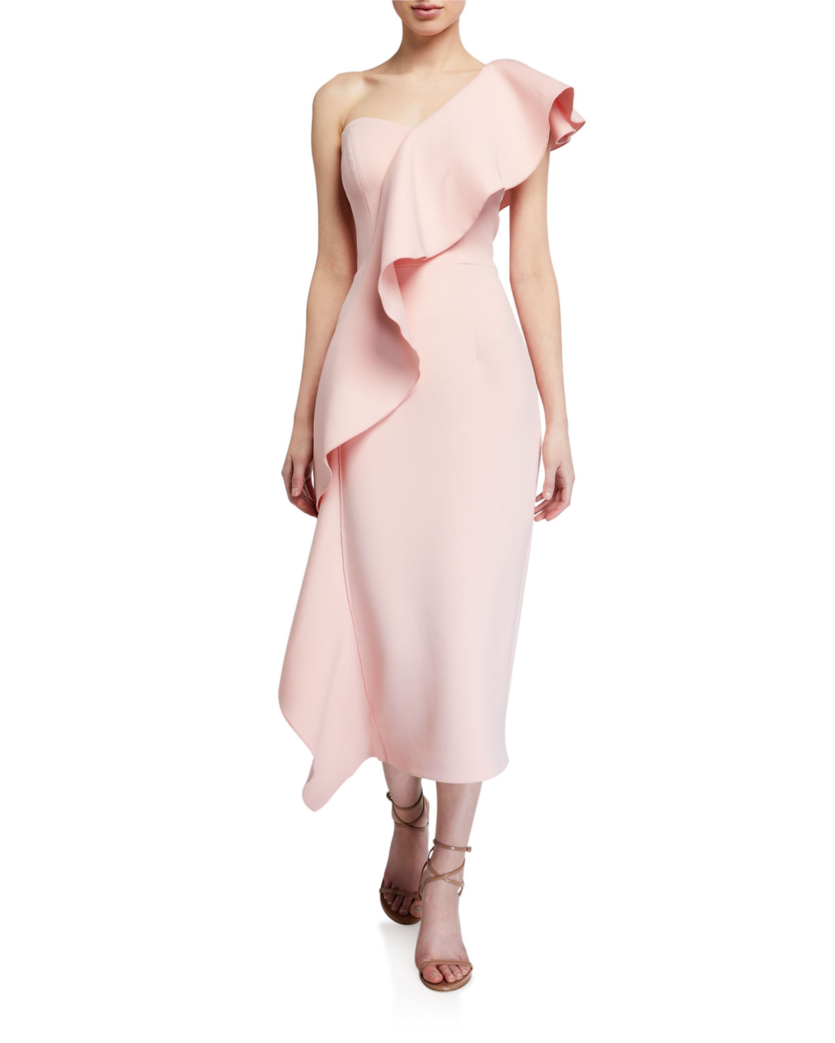 Jovani Asymmetric Ruffle Scuba Midi Dress