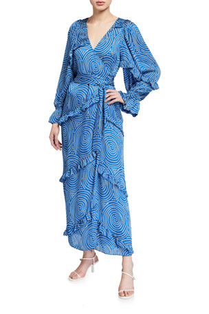 Rhode Crosby Printed Ruffle Long-Sleeve Wrap Dress