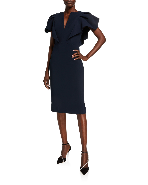Jovani V-Neck Puff-Sleeve Scuba Dress