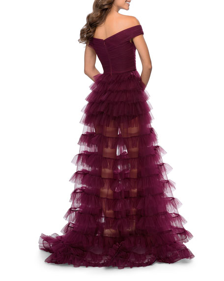 La Femme Off-the-Shoulder Tiered Tulle Sheer A-Line Gown