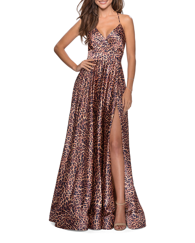 La Femme Satin Leopard A-Line Strappy-Back Gown
