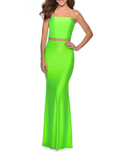 Two-Piece Jersey Dress Set with Strapless Top & Skirt