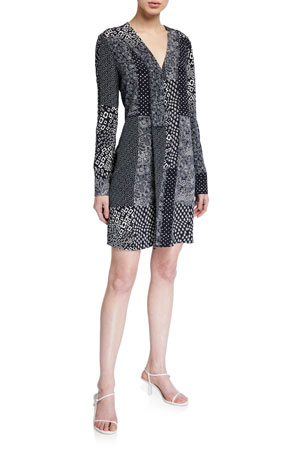 Diane von Furstenberg Reid Patchwork Long-Sleeve Dress
