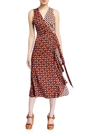 Diane von Furstenberg Moira Printed Sleeveless Wrap Dress