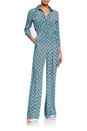 Diane von Furstenberg Sandy Geo-Print Jumpsuit