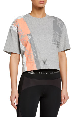 adidas by Stella McCartney Graphic Drawstring-Waist Short-Sleeve Tee