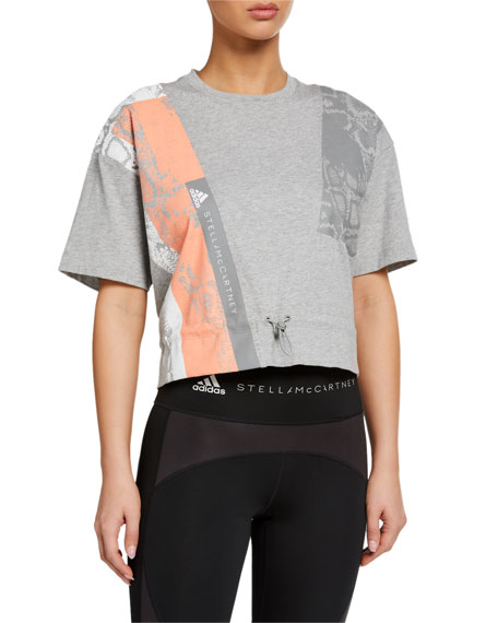 adidas by Stella McCartney Graphic Drawstring-Waist Short-Sleeve Tee