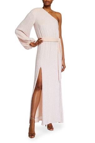 Retrofete Joyce Sequined One-Shoulder Cocktail Dress