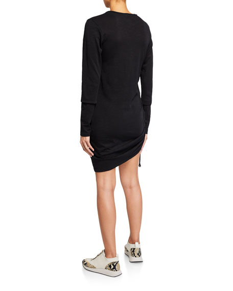 Pam & Gela Side-Ruched Long-Sleeve Jersey Dress
