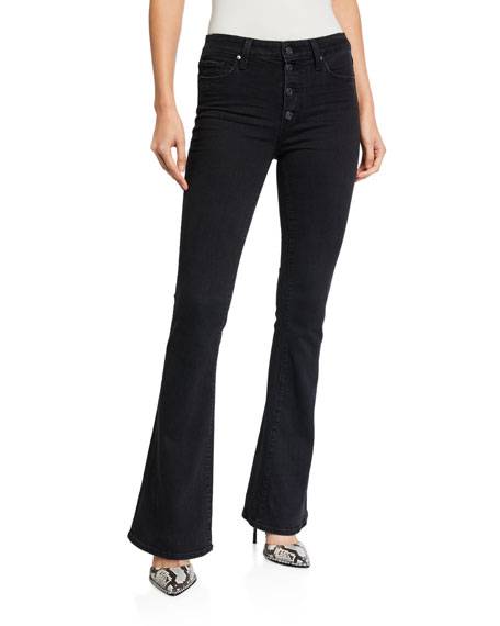 PAIGE Lou Lou High-Rise Flare Jeans with Exposed Buttons
