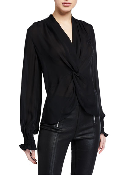 PAIGE Lorienne Twist-Front Silk Blouse