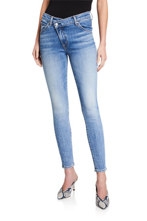 7 for all mankind Asymmetric Front Skinny Ankle Jeans
