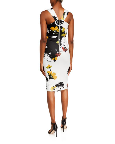 Image 2 of 2: Ted Baker Yoladi Twist-Front Floral Body-Con Dress