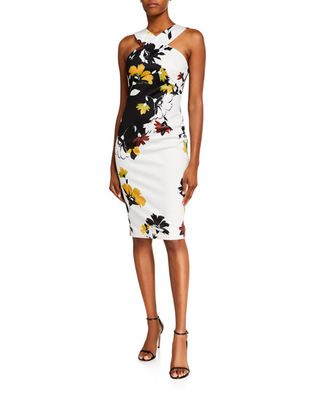 Image 1 of 2: Ted Baker Yoladi Twist-Front Floral Body-Con Dress