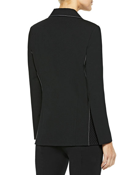 Misook Contrast Stitch One-Button Ponte Blazer
