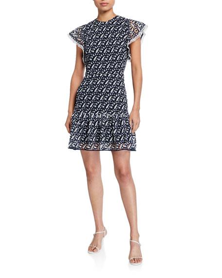 Shoshanna Kassia Flutter-Sleeve Palace Cascade Lace Dress