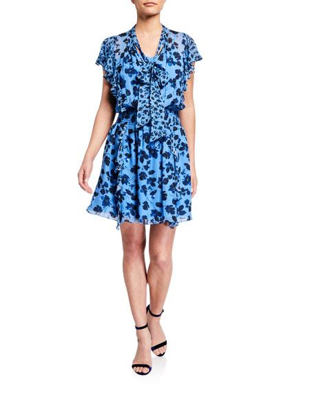 Shoshanna Sapphira Rhodes Floral Print Tie-Neck Ruffle Dress
