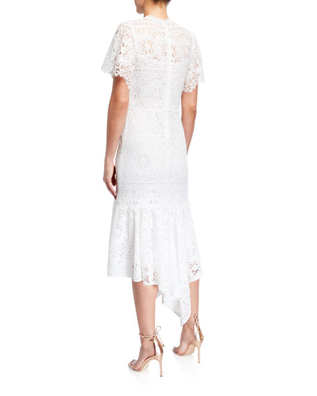 Image 2 of 2: Shoshanna Trinette Mosaic Lace Handkerchief Midi Dress