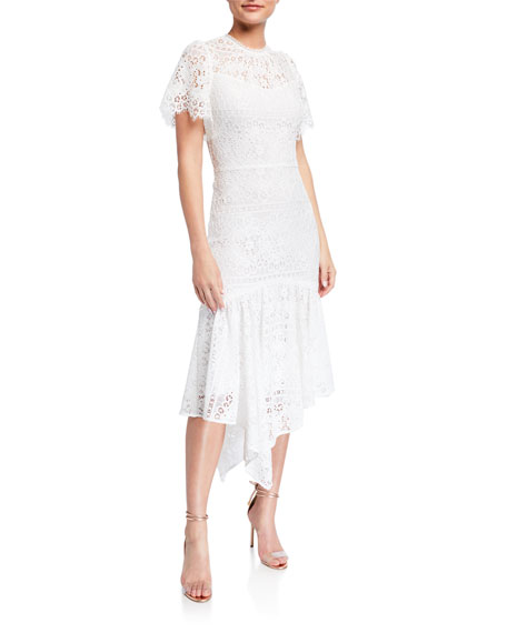 Image 1 of 2: Shoshanna Trinette Mosaic Lace Handkerchief Midi Dress