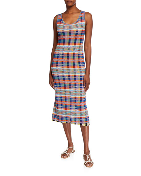 M Missoni Plaid Print Mesh Overlay Midi Tank Dress