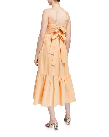 Image 2 of 2: Loup Charmant Iliana Pleated Poplin Tie-Back Dress