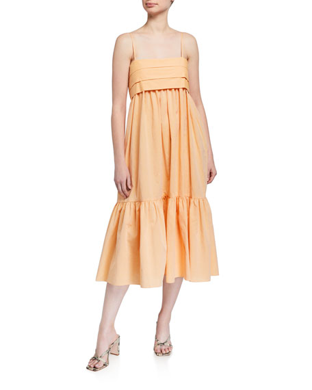 Image 1 of 2: Loup Charmant Iliana Pleated Poplin Tie-Back Dress