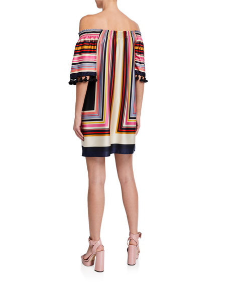 Image 2 of 2: Amaris 2 Striped Off-the-Shoulder Tassel-Trim Dress