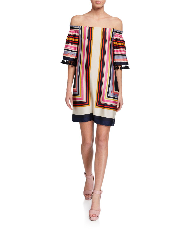 Trina Turk Amaris 2 Striped Off-the-Shoulder Tassel-Trim Dress