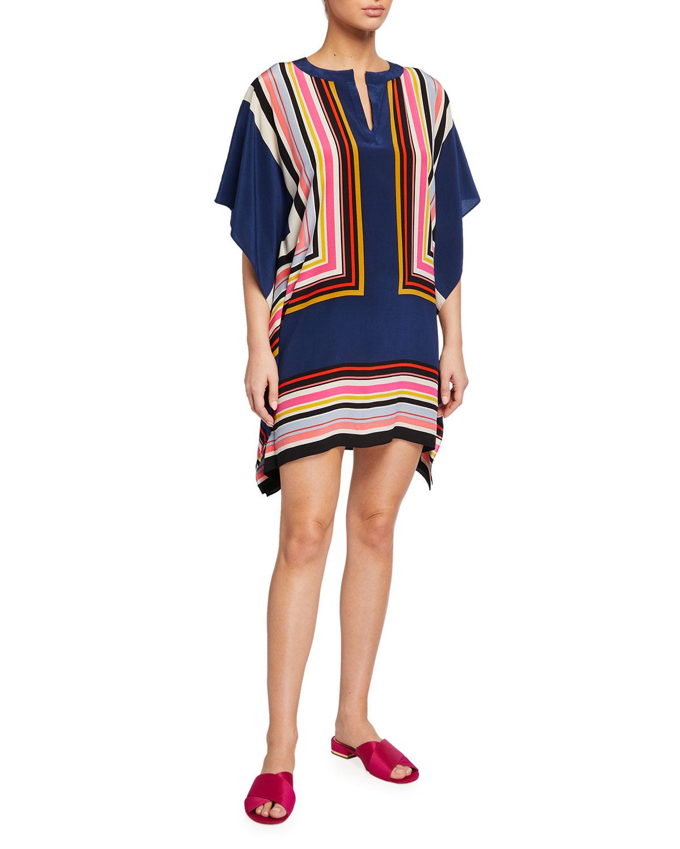 Trina Turk Theodora Multi-Stripe Silk Dress