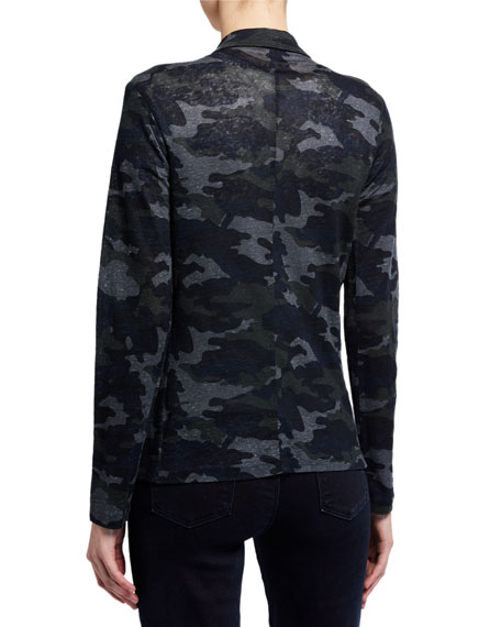 Image 2 of 2: Majestic Filatures Camo Stretch-Linen Open-Front Blazer