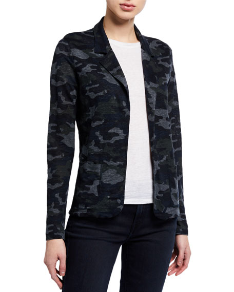 Image 1 of 2: Majestic Filatures Camo Stretch-Linen Open-Front Blazer