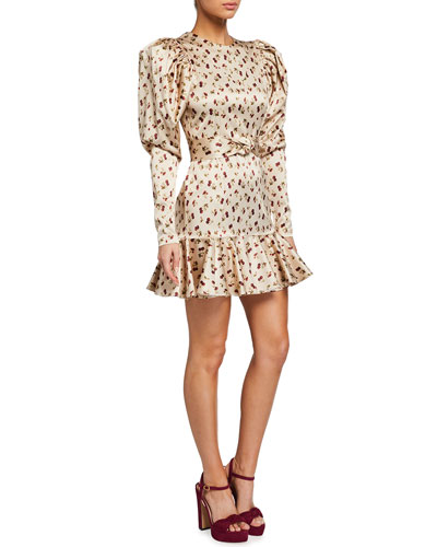 Shelly Belted Long-Sleeve Knotted-Front Dress