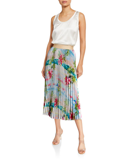 Image 3 of 3: Le Superbe Pretty Pleats Floral-Print Skirt