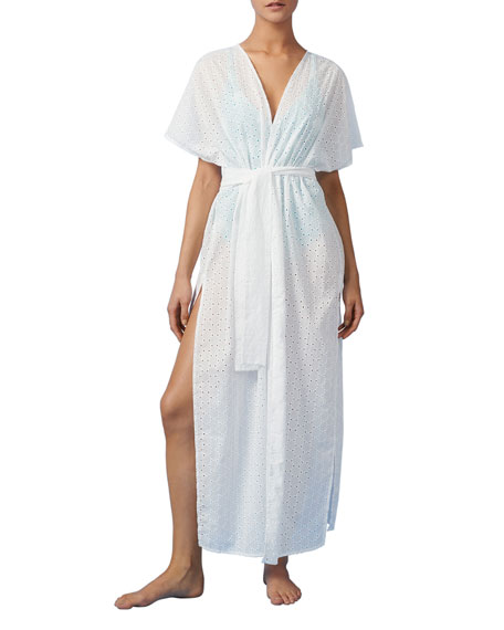 Paolita Embroidered Cotton Kimono Coverup