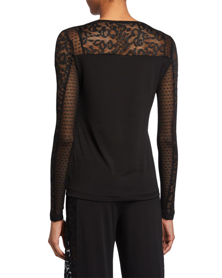 Anatomie Pandora Long-Sleeve Top with Lace Inserts