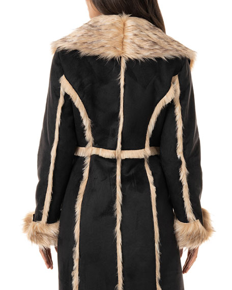 Image 3 of 3: Fabulous Furs Cascade Faux Suede Faux Fur-Trim Full Coat