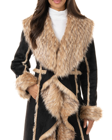 Image 1 of 3: Fabulous Furs Cascade Faux Suede Faux Fur-Trim Full Coat