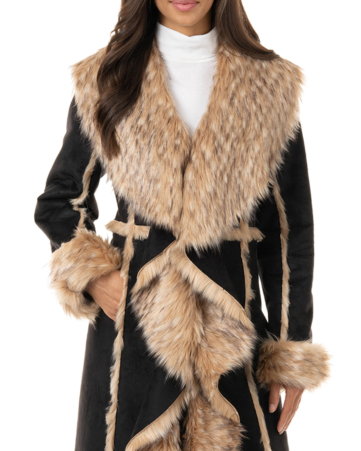 Fabulous Furs Cascade Faux Suede Faux Fur-Trim Full Coat