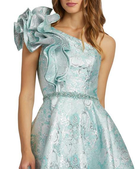 Mac Duggal Ruffle-Shoulder Metallic Jacquard Ball Gown